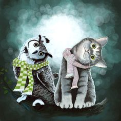 Cat and Owl by Tummeow  /  owls are the cats of the bird world ;-)