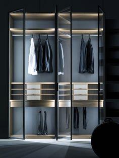 Core Glass + Cabina – maxdelucadesign+home Glass Wardrobe, Wardrobe Room, Open Wardrobe, Wardrobe Ideas, Wardrobe Interior Design, Wardrobe Design Bedroom, Closet Bedroom, Cupboard Design, Swinging Doors