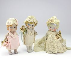 Three All Bisque Japanese Betty Boop Wedding Party Dolls from vininghill on Ruby Lane