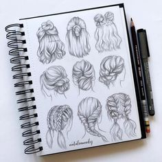 Amazing Hair Drawing Ideas & Inspiration Brighter Craft Source byIf you're struggling to draw hair, then these hair drawing tips may prove to be useful.Need some drawing inspiration? Here's a list of over 30 amazing hair drawing ideas and inspirati Pencil Art Drawings, Art Drawings Sketches, Sketch Art, Easy Drawings, Drawings Of Hair, Sketch Books, Amazing Drawings, Drawings For Girls, How To Draw Sketches