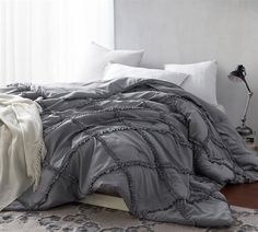 Shop for BYB Alloy Grey Gathered Ruffles Handcrafted Series Comforter (Shams Not Included). Get free delivery On EVERYTHING* Overstock - Your Online Fashion Bedding Store! Get in rewards with Club O! Ruffle Comforter, Grey Comforter, King Comforter, Comforter Sets, Neutral Bedding, College Bedding Sets, Console, Cute Bedding, Luxury Bedding Sets