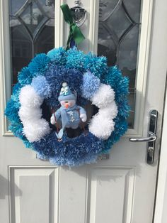 Large pom pom snowman wreath door hanging by reneesmum on Etsy