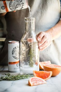 """Summer should be all about refreshing sparkling seltzer drinks like this White Claw Ruby Grapefruit Hard Seltzer, Prosecco and fresh rosemary. If I had to choose a """"hammock drink"""". Low Carb Cocktails, Prosecco Cocktails, Vodka Drinks, Fun Drinks, Cocktail Recipes, Drink Recipes, Beverages, Best Summer Cocktails, Christmas Cocktails"""