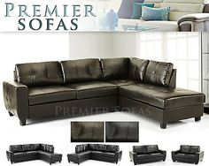 BRAND NEW WESTPOINT SOFA FULL REAL LEATHER CORNER SOFA IN BROWN OR BLACK