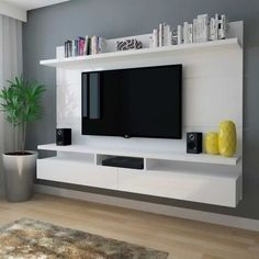 Wall mounted tv unit with storage wall unit with shelves chic and modern mount ideas for . wall mounted tv unit with storage Wall Mounted Tv Unit, Living Room Tv Wall, Living Room Tv, Wall Unit Designs, Living Room With Fireplace, Living Room Designs, Wall Mount Tv Shelf, Tv Stand Shelves, Living Room Wall