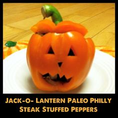 Cutest Halloween Dinner - Jack-o-lantern Philly Steak Stuffed Peppers - Primally Inspired Halloween Food Dishes, Halloween Dinner, Cute Halloween, Halloween Items, Halloween Treats, Primal Recipes, Real Food Recipes, Drink Recipes, Beef Recipes