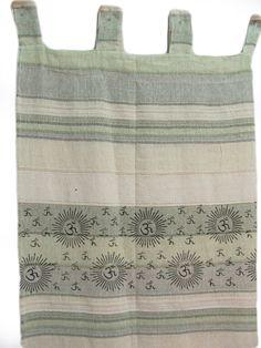 Indian Home Decor Bohemian Om Namah Shivay Sanskrit Cotton Ivory-Green Tab Top Curtain #IndianHomeDecor