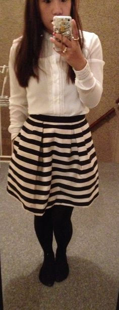 Stripeskirt and ruffleblouse