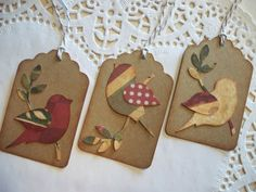 Vintage Christmas Tags Rustic Birdies Set of 8 by lucyizzy