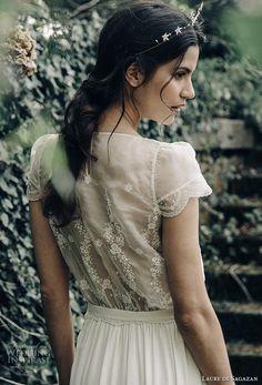 laure de sagazan 2017 bridal cap sleeves jewel neck lightly embellished bodice blouson top 2 peice bohemian column wedding dress covered lace back (gill) bv -- Laure de Sagazan 2017 Wedding Dresses