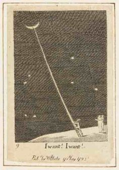 """William Blake, ""I Want!"" Engraving, Butlin 201 40 ""By the even the most romantically inclined philosophers no longer believed there was a man in the moon. Yet William Blake,. William Blake, James Blake, Moon Child, Gravure, Stars And Moon, Les Oeuvres, Book Art, Things I Want, Illustration Art"