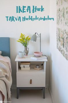 IKEA Hack TARVA bedside table - Bedside cabinet makeover – painting and remodeling cabinets – IKEA Hack – Tarva bedside cabin - Diy Furniture Nightstand, Furniture Makeover, Ikea Pinterest, Ikea Hack Bedroom, New Swedish Design, Ikea Decor, Master Room, Bedroom Night Stands, Diy Cabinets