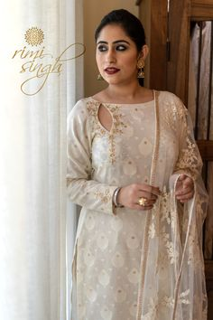 """ TAABEER"" ""The interpretation of dreams."" Fall winter 2018 Come . Salwar Suit Neck Designs, Salwar Designs, Kurta Designs Women, Kurti Designs Party Wear, Indian Designer Suits, Indian Fashion Designers, Neckline Designs, Dress Neck Designs, Pakistani Formal Dresses"
