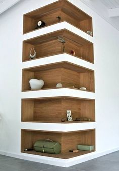 Space-Saving Corner Shelf Design Ideas www. - Home Decor Art - Space-Saving Corner Shelf Design Ideas www. Corner Shelf Design, Diy Corner Shelf, Corner Wall Shelves, Book Shelves, Wall Shelves Design, Storage Shelves, Corner Storage, Bookshelf Design, Shelves Built Into Wall