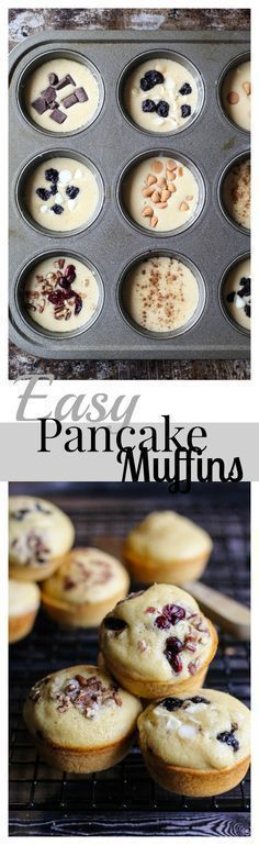 An easy breakfast with customizable pancake muffins-- add whichever toppings you like! Plus easy clean-up with Scotch-Brite™ Brand Sponges. Easy Pancake Mix, Pancake Muffins, Pancakes Easy, Breakfast Muffins, Breakfast For Kids, Best Breakfast, Breakfast Ideas, Second Breakfast, Breakfast Club