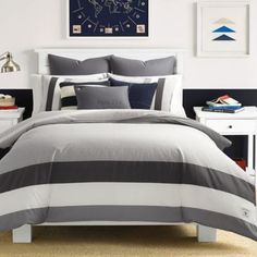 Nautica Signal Stripe Full/queen Duvet Cover Set In Charcoal Twin Comforter Sets, King Comforter, Duvet Sets, Duvet Cover Sets, Queen Duvet, Grey Comforter, Bath, Luxury Bedding, Comforters