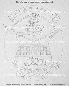 Sketch sent for final approval drawn by American heraldic painter and professional fine artist Candice Jamieson. Once approved the arms will be hand painted and added to the pinterest 'American Style' heraldry album. Stay tuned. (heraldic art, heraldic artist, heraldry, Candice Jamieson, coats of arms, American heraldry, The Jamieson Family)