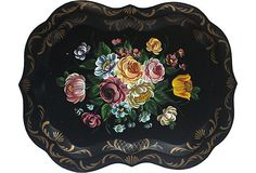 Beautiful vintage tole tray with a hand-painted bouquet of multicolored flowers and gold detailing.