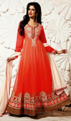 Coral Embroidered Net Floor Length Anarkali Churidar Suit #Indiansalwarkameez-fashion  #Partywear-SalwarSuit Price:British UK Pound £71, Euro88, Canada CA$131, Indian Rs.6534