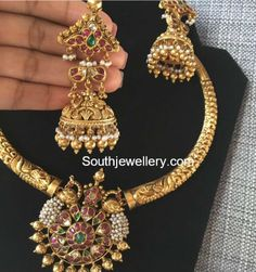 Kanthi Necklace and Jhumkis Set photo