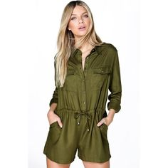 Boohoo Eleanor Utility Style Long Sleeve Playsuit ($35) ❤ liked on Polyvore featuring jumpsuits, rompers, khaki, long sleeve rompers, green romper, khaki romper, playsuit romper and long sleeve jersey