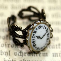 Vintage Clock Cameo Ring. $18.00, via Etsy.