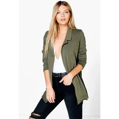 Boohoo Esme Ponte Blazer ($18) ❤ liked on Polyvore featuring outerwear, jackets, blazers, khaki, duster coat, puffa jacket, bomber jacket, khaki bomber jacket and puffer jacket