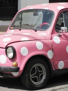 Small Utilitarian.  #Vintage 1960 #Fiat #600 #car in #pink and #polka dot white