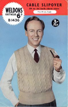 PDF File Vintage Man's Cable Slip Over Weldons Knitting Pattern B1436 on Etsy, £1.49