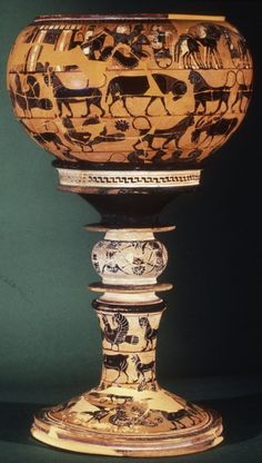 """The Sophilos Dinos, Painted by Sophilos, Ancient Greece, 580 BC """"It shows the Wedding of Peleus and Thetis, above friezes of real and imaginary animals. Peleus receives the wedding guests at. Ancient Greek Art, Ancient Greece, Historical Artifacts, Ancient Artifacts, Archaic Greece, Art Antique, Antique Vases, Vase Design, Greek Pottery"""
