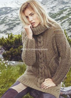 Длинный свитер с узором из ромбов и кос