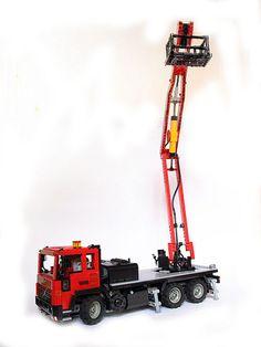 Cherry picker by Makorol Lego Truck, Lego Technic, Rigs, Volvo, Motorbikes, Cherry, Geek, Trucks, Lego Vehicles