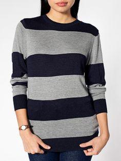 Unisex Knit Wide Stripe Sweater Crew Neck | American Apparel