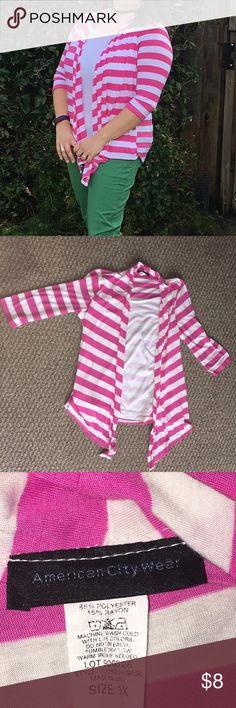 """Pink & White Striped 3/4 length Sweater Top combo Adorable. Lightweight. Shirt/sweater combo. This is not two pieces. There is a scoop neck white top and the """"sweater"""" drapes in front, but it is all one shirt seen together. Size 1X. Bright and flirty! American City Wear Tops"""