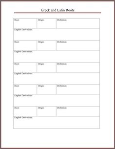 Latin and Greek Roots notebooking page. Designed for use with English From the Roots Up