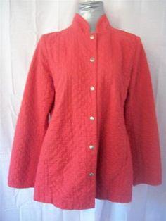 Sz s Eileen Fisher Bright Orange Lightweight Quilted Organic Cotton Jacket Coat | eBay
