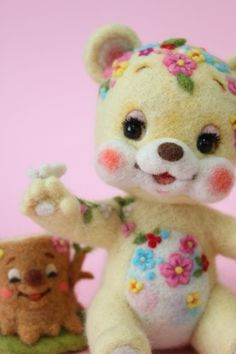 花くまちゃんと切り株さん | Needle felted teddy bear & Mr. stump