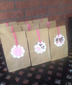 12 farm animal pink gingham party favor tags by pinktreepapers, $15.00