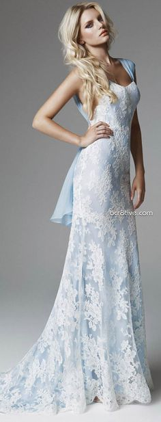 Blumarine 2013 Bridal Collection - not sure I like the shoulder straps, but love the blue and lace!