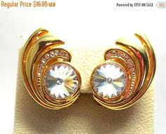 Sparkling Rivoli & Rhinestones Earrings Vintage Gold Swirl Brilliant cut AB Swarovski Large Rhinestone