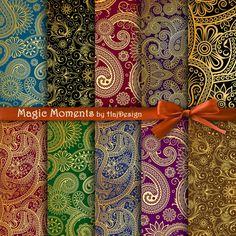 MAGIC MOMENTS - Digital Paper Scrapbook Paper Decoupage Paper Oriental Digital Collage Sheets 10 Papers