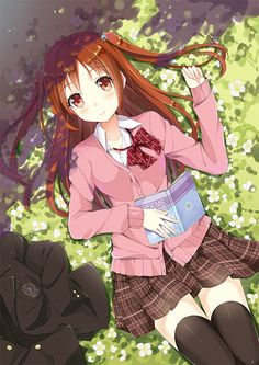 ✮ ANIME ART ✮ anime. . .school uniform. . .blazer. . .pleated skirt. . .bow tie. . .twin tails. . .book. . .cute. . .kawaii