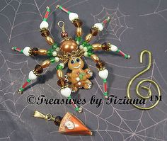 Treasures-byTiziana-OOAK-Christmas-Legend-Sweet-Gingerbread-Man-Spider-Ornament