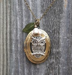 Owl Locket Necklace with Leaf and Flower by smilesophie on Etsy, $20.00