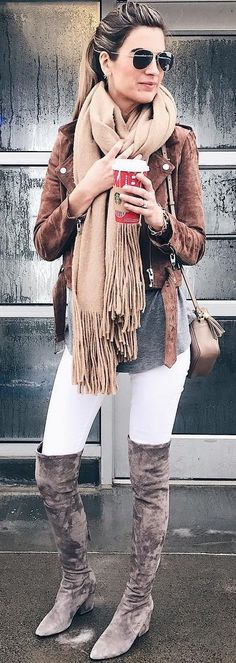 Brown Jacket + Fringe Scarf + White Skinny Jeans + Dark Velvet OTK Boots