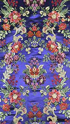 Navy-Blue Handloom Brocade Fabric from Banaras with Woven Flowers and Leaves