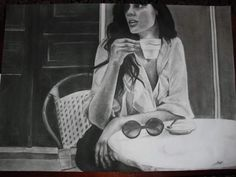 A drawing of a french woman enjoying a cup of coffee. Relates to: Paris, elegant woman..