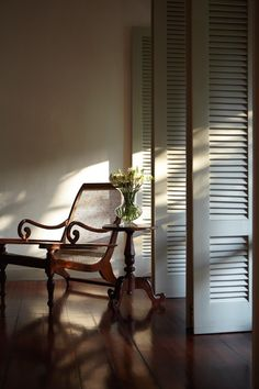Plantation chair and shutters