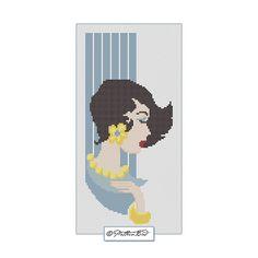 Vintage Woman X. Instant Download PDF Cross Stitch Pattern