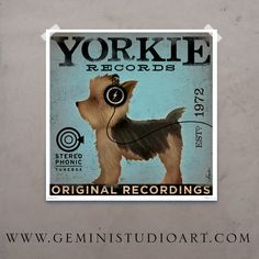 Yorkie Yorkshire Terrier records original graphic art giclee archival print 12 x 12. $39.00, via Etsy.
